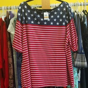 Karen Scott NWT 3X top red white and blue